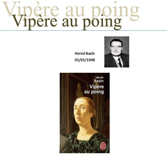 a descriptive analysis of herve bazins vipere au poing essay